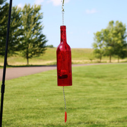 Glass Wine Bottle Wind Chime, Red