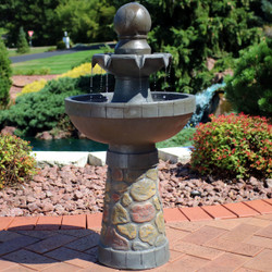 Sunnydaze 2-Tier Cobblestone-Look Outdoor Water Fountain with LED Rope Light, 33-Inch Tall