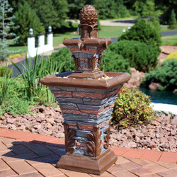Sunnydaze 2-Tier Stacked Stone Look Outdoor Water Fountain with LED Rope Light, 33-Inch Tall
