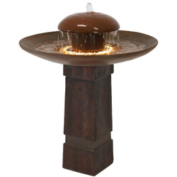 Sunnydaze Domed Shower Outdoor Bird Bath Water Fountain with LED Rope Light, 32-Inch Tall