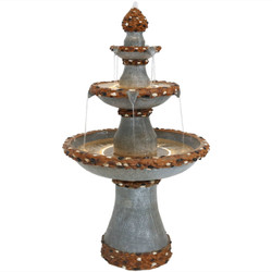 3-Tier Pebbled Edge Outdoor Water Fountain with LED Rope Lights