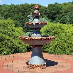 Sunnydaze 3-Tier Pebbled Edge Outdoor Water Fountain with LED Rope Lights, 49-Inch Tall