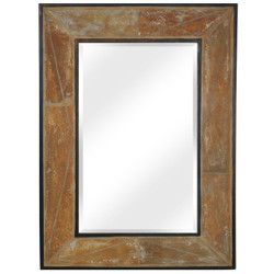 CASL Brands Large Rectangular Wall Mirror with Decorative Slate Frame