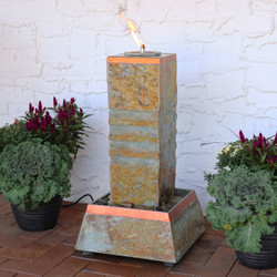 Sunnydaze Outdoor Water Fountain Cube Column Tower with Torch Top, Natural Slate, 30-Inch