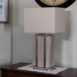 CASL Brands Indoor Table Lamp with Industrial-Inspired Concrete Base with Chrome Detailing and Fabric Lampshade, 27-Inch