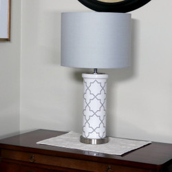 Indoor Table Lamp with French-Inspired Glass Cylinder Base and Fabric Lampshade