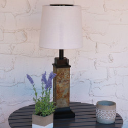 Sunnydaze Outdoor Solar Table Lamp with Slim Slate Base and Fabric Shade, 25-Inch