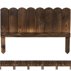 Sunnydaze 5-Piece Rustic Wood Outdoor Garden Border Fence Panel Set, 15-Inch Tall