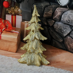 Sunnydaze Gold Sparkling Fir Tree Statue Indoor/Outdoor Winter or Christmas Decor, Polyresin, 18-Inch