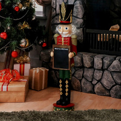Sunnydaze Friedrich the Nutcracker with Sign Indoor/Outdoor Christmas Decor, Polyresin, 36-Inch