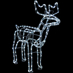 Christmas Holiday Standing Deer White LED Light Display at Night