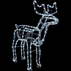 Christmas Holiday Standing Deer White LED Light Display at Night
