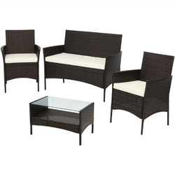 Galway 4-Piece Gray Rattan Outdoor Patio Furniture Set with Cushions