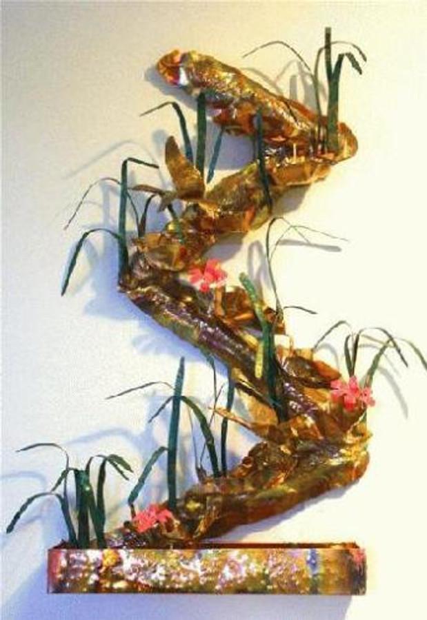 Sculpted Copper Wall Fountain - Zig Zag