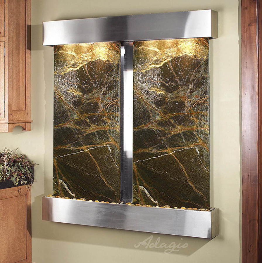 Stainless Steel with Green Marble