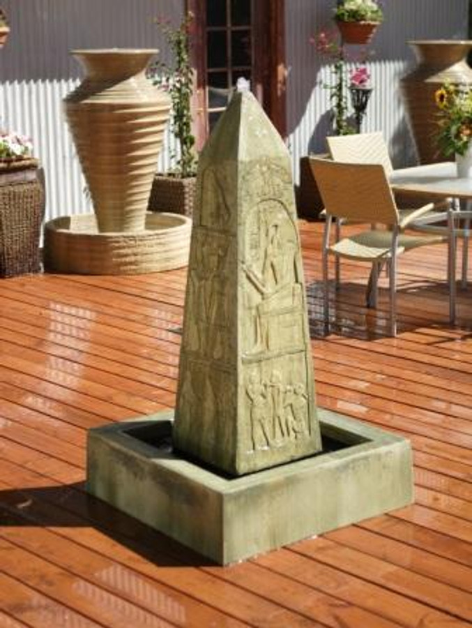 Obelisk Stone Outdoor Electric Water Fountain