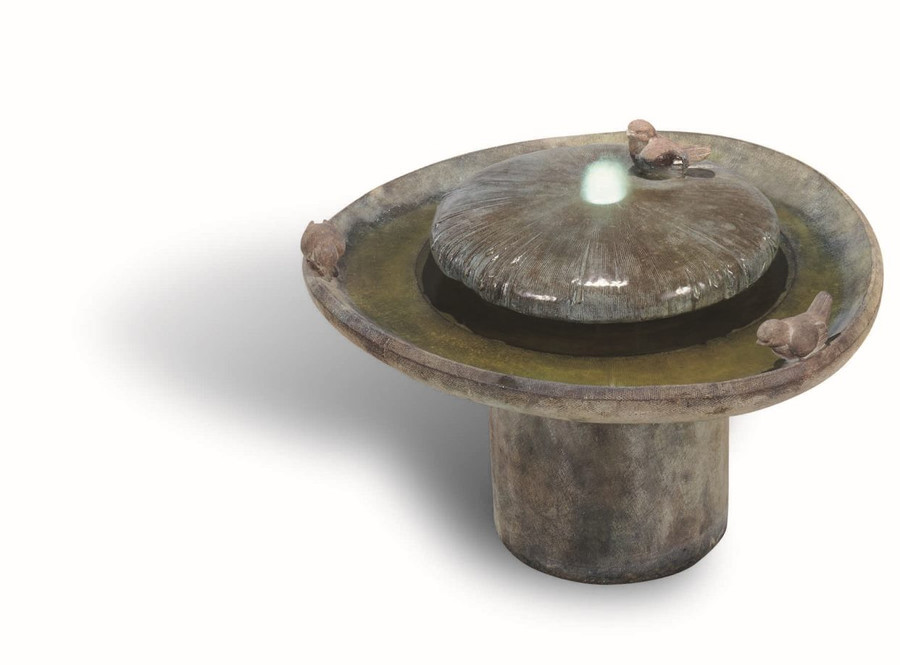 Whimsical Birds of a Feather Cast Stone Fountain by Henri Studio