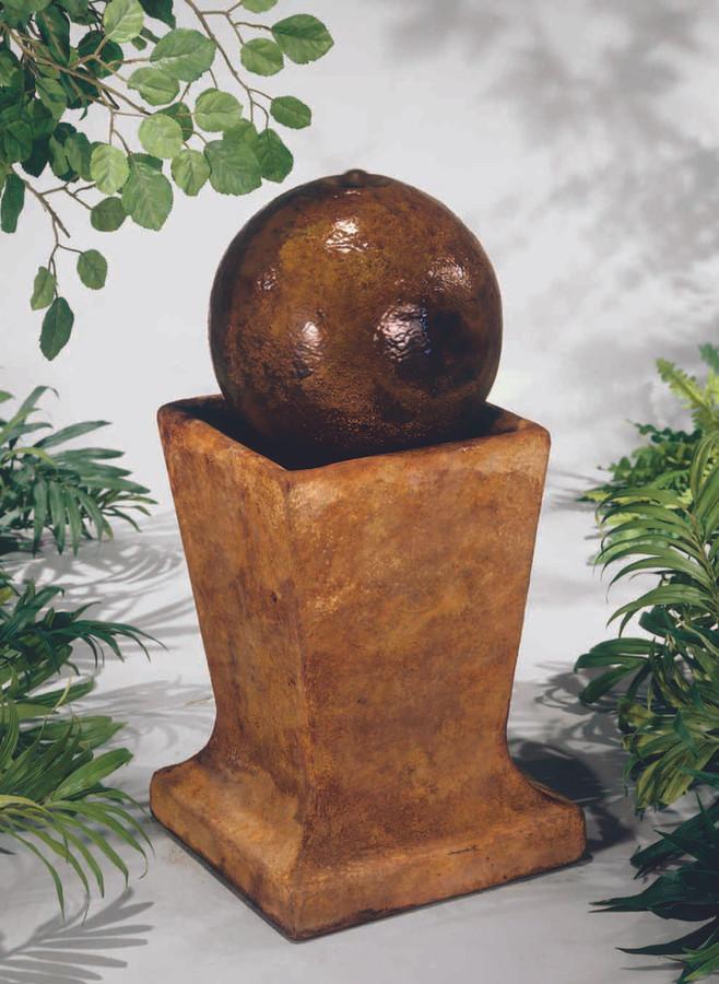 Henri Studio Cast Stone Sphere on Low Pedestal Fountain