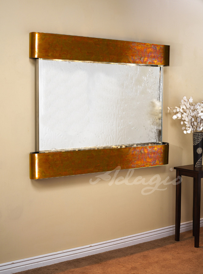 Rustic Copper, Silver Mirror, Round Corners