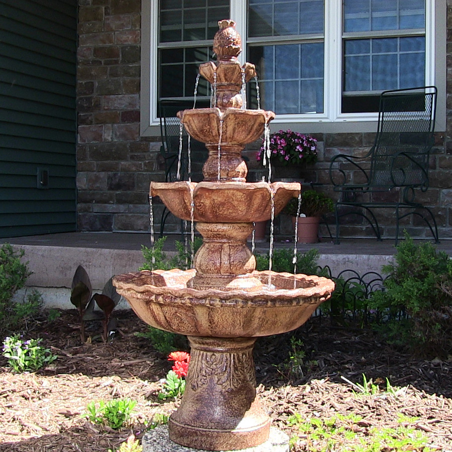 Sunnydaze 4-Tier Pineapple Outdoor Water Fountain, Earth, 52 Inch Tall