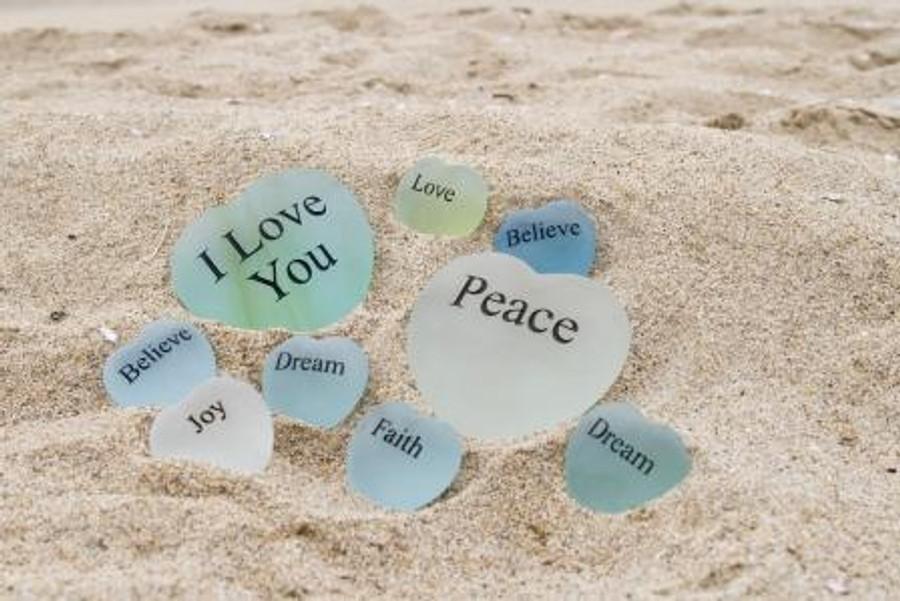 Sea Glass Stone Hearts