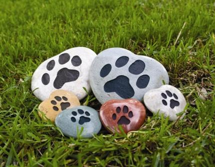 Stone Hearts with Paws