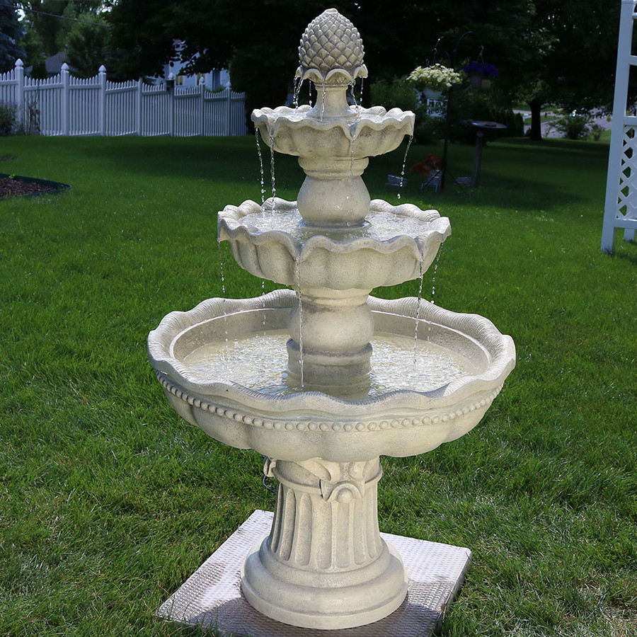 Garden Fountain: Sunnydaze Three-Tier Outdoor Pineapple Garden Fountain