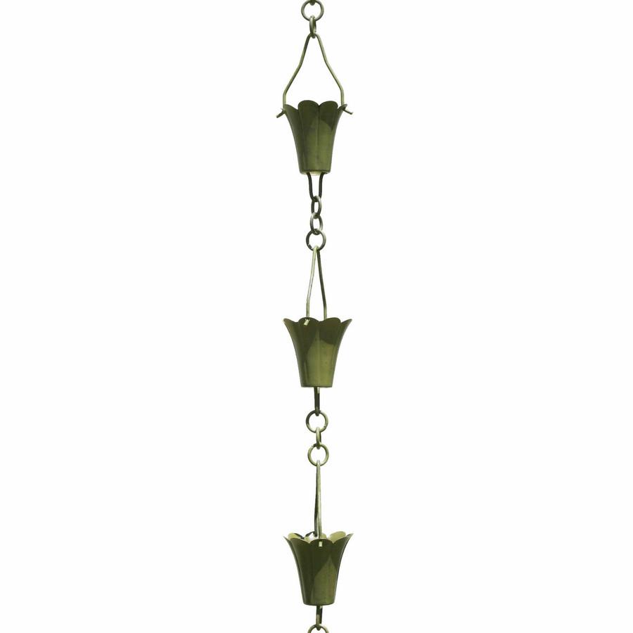 Verdigris Fluted Cup Rain Chain