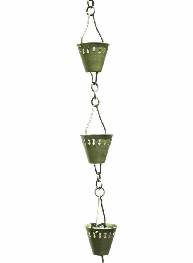 Verdigris Shade Cup Rain Chain
