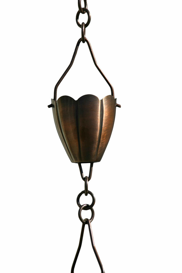 Antique Copper Flower Cup Rain Chain