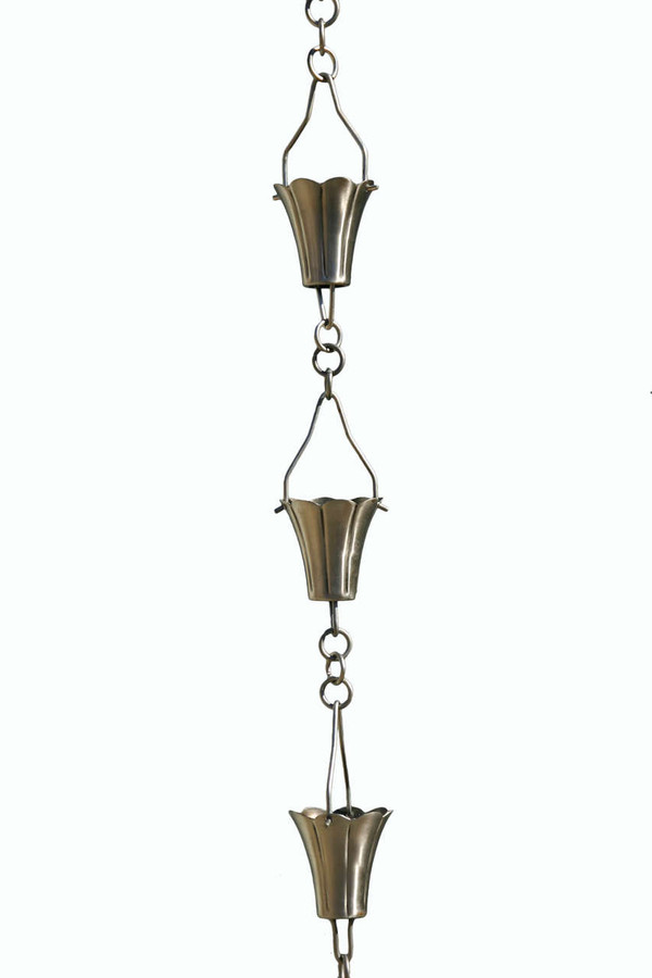 Brushed Stainless Steel Fluted Cup Rain Chain