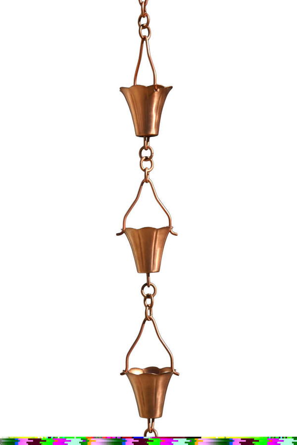 Copper Fluted Cup Rain Chain