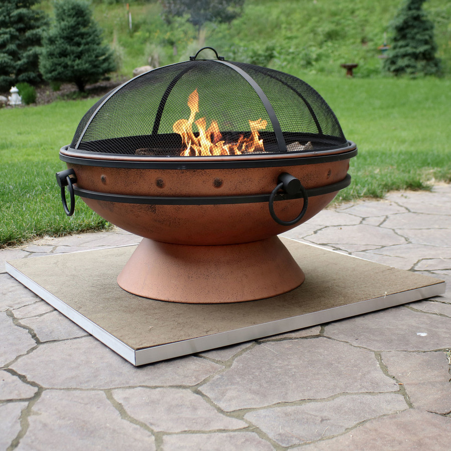 "36"" DeckProtect Shown with Sunnydaze Royal Cauldron Fire Pit (Fire Pit Sold Separately)"