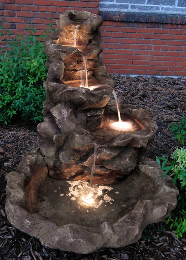 Lighted Stone Springs Outdoor Fountain - Evening