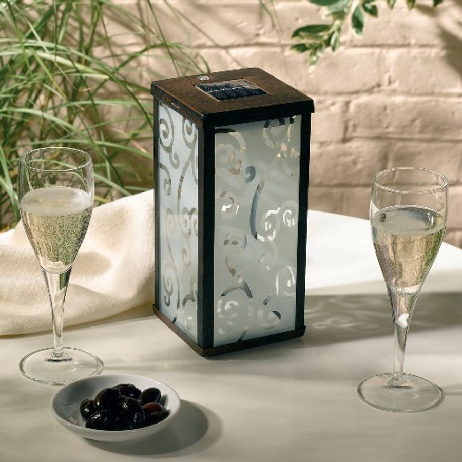 Smart Solar Frosted Scroll Square Solar Lantern