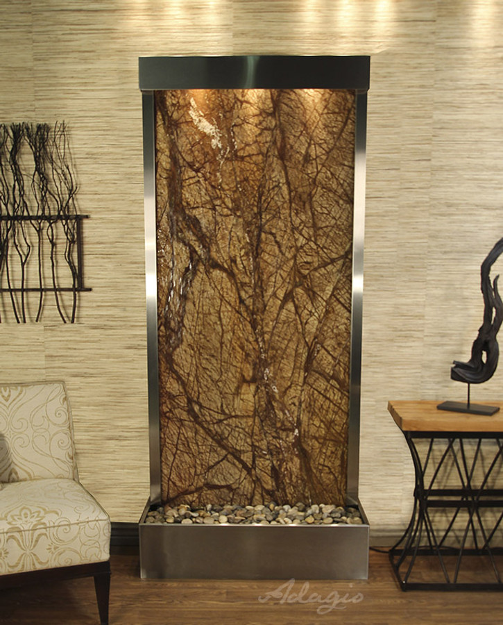 Stainless Steel & Rainforest Brown Marble