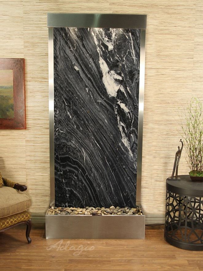 Stainless Steel & Black Spider Marble