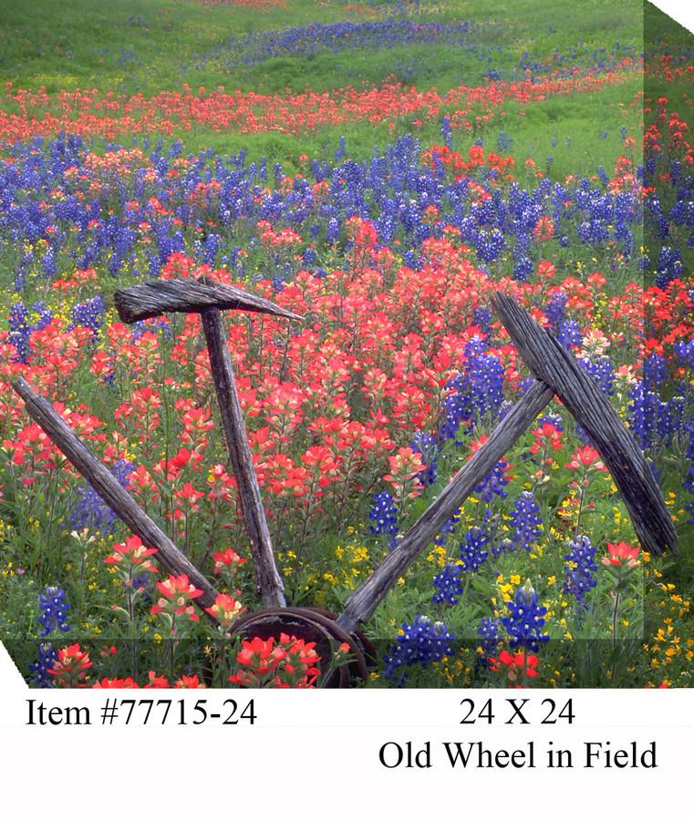 Old Wheel in Field Canvas Wall Art