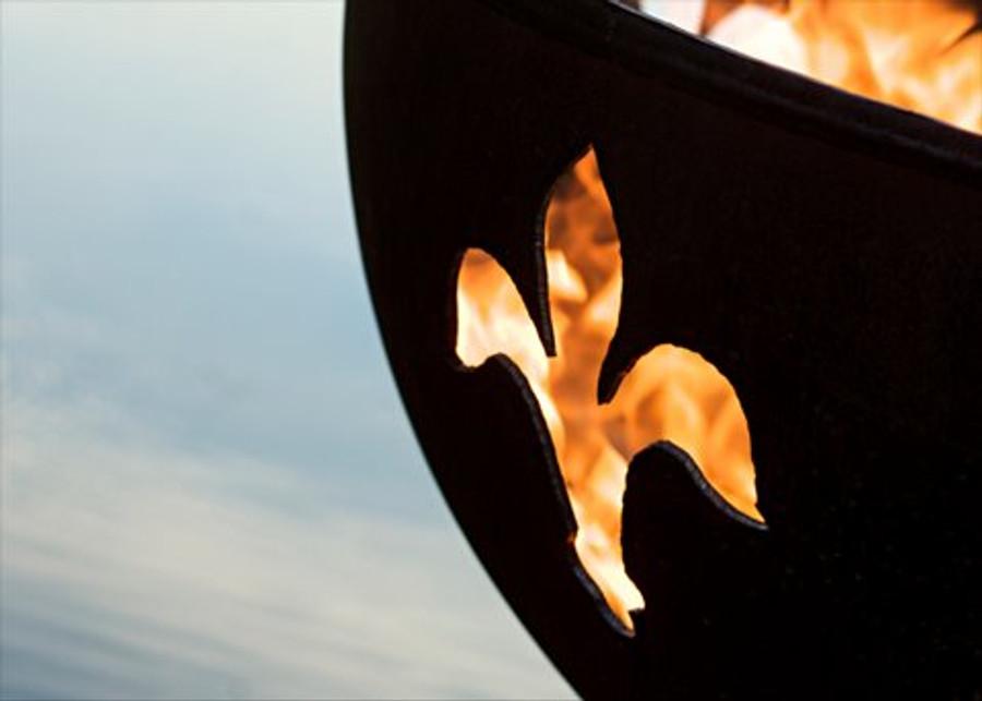 Fleur de Lis Gas Fire Pit by Fire Pit Art