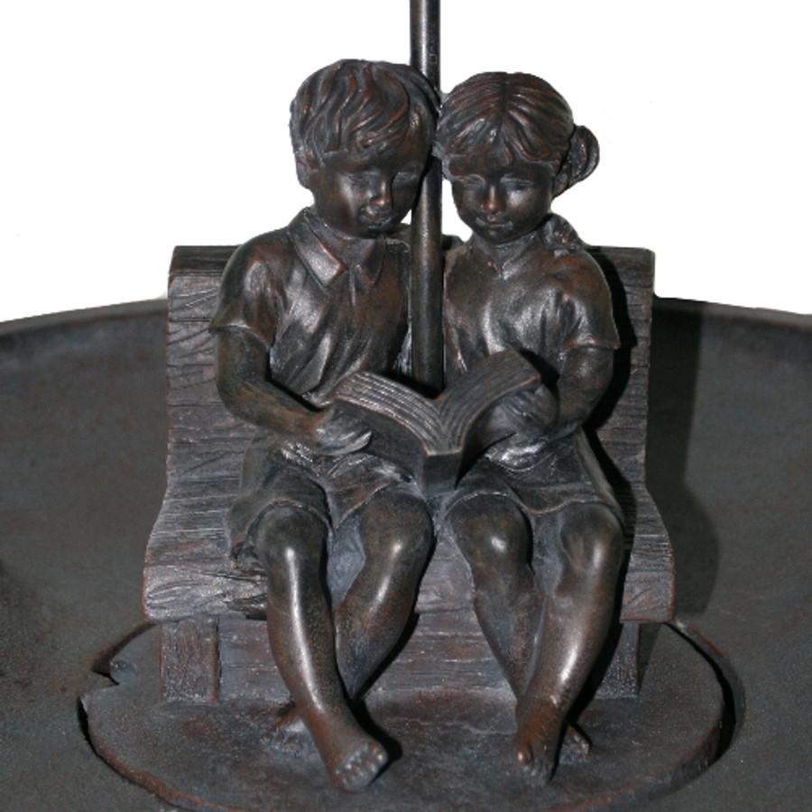 Smart Solar Boy & Girl Reading on Bench Fountain