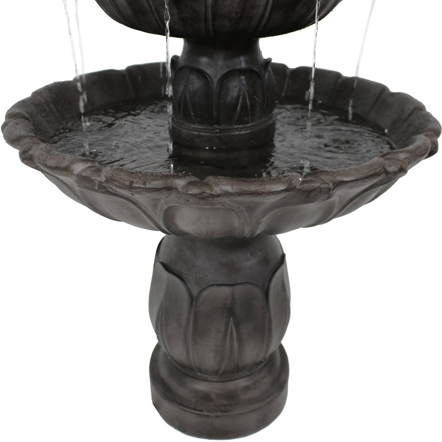 Closeup of Bottom of Classic Tulip 3 Tiered Outdoor Water Fountain