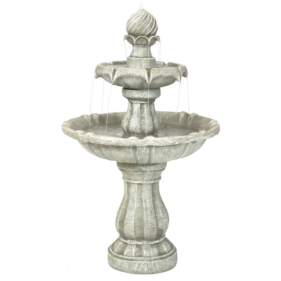Sunnydaze Two Tier Solar on Demand Outdoor Water Fountain, White Earth, 35 Inch Tall, Includes Battery Pack