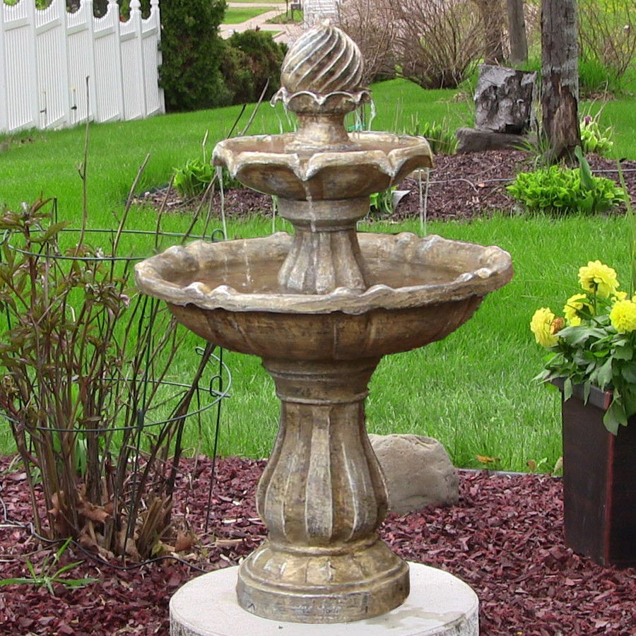 Garden Fountain: Sunnydaze Two-Tier Solar Fountain
