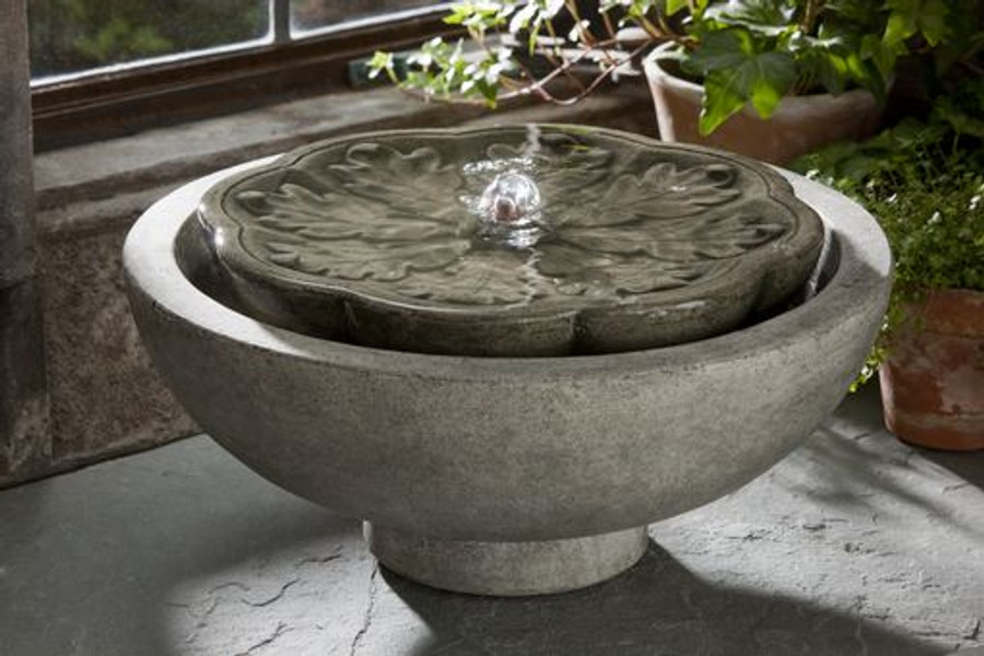 Campania International Flores Cast Stone Tabletop Fountain