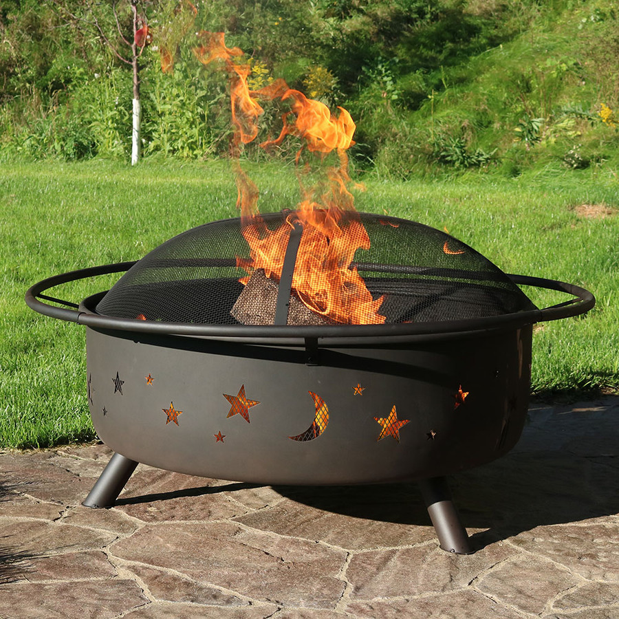 Sunnydaze 42 Inch Large Cosmic Outdoor Patio Fire Pit with Spark Screen
