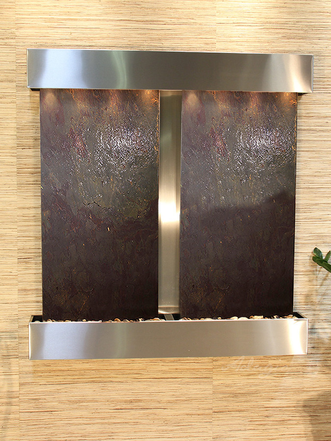 Stainless Steel and Rajah Featherstone with Squared Corners