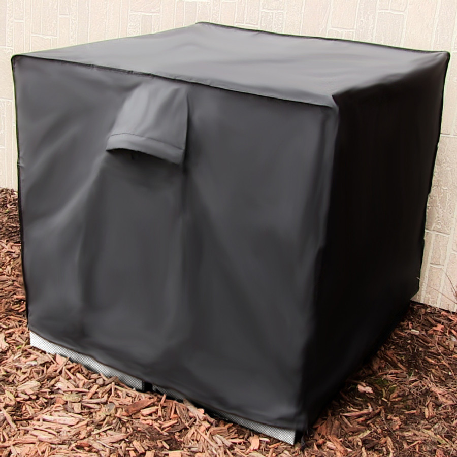 Sunnydaze Square Black Air Conditioner Cover, 34 Inch