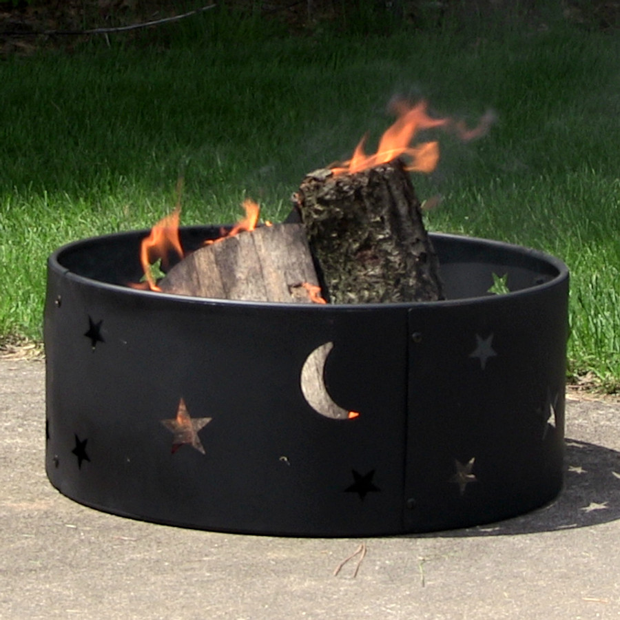 Sunnydaze Cosmic Stars And Moon Camping Fire Ring, 23 Inch Diameter