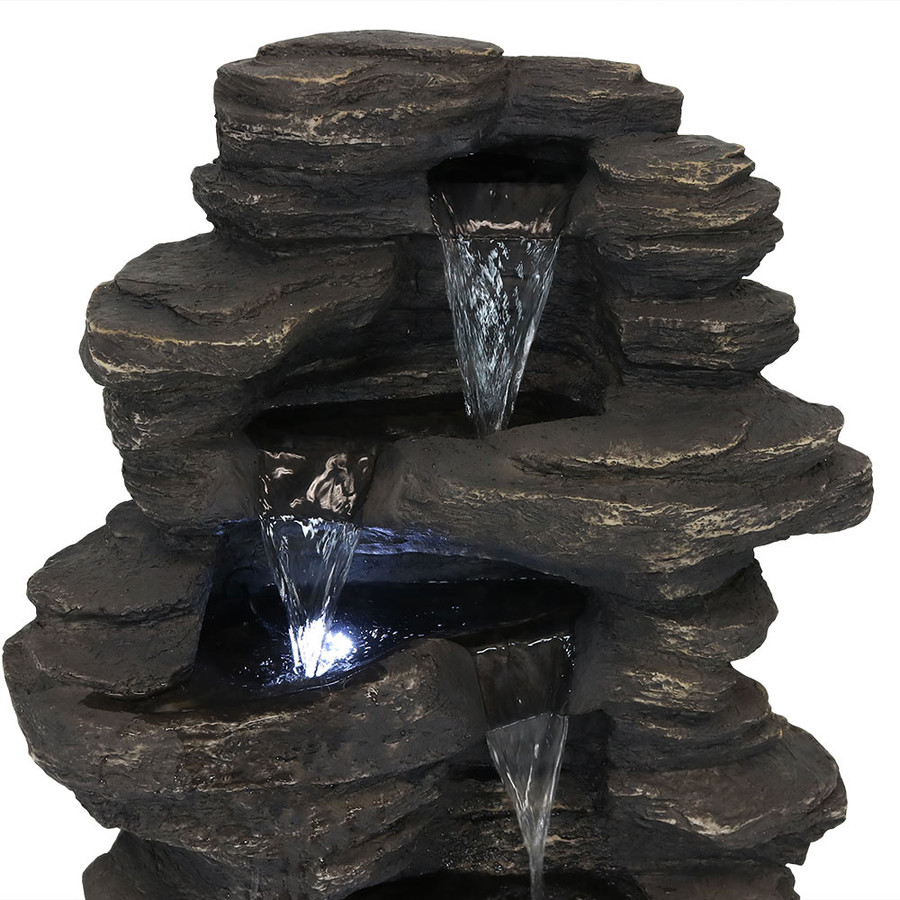 Closeup of Top of Rock Falls Electric Waterfall Fountain with LED Lights