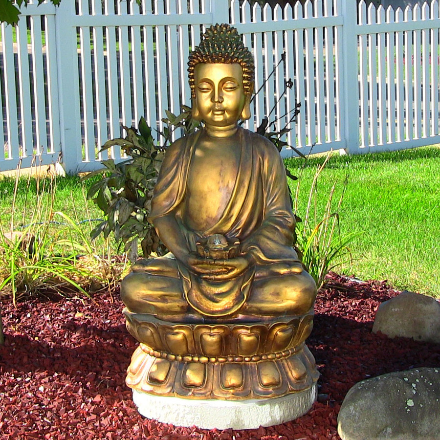 Buddha Fountains: Sunnydaze Relaxed Buddha Fountain With Light